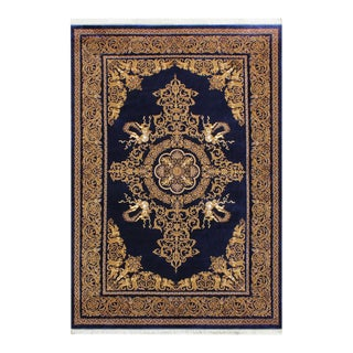 Early 20th Century Renaissance Art Angels Inspired Silk on Silk Rug 5'1 X 6'5 For Sale
