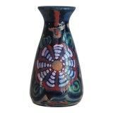 Image of 1920s Blue Art Nouveau Gebauer Majolica Vase, German Art Pottery For Sale