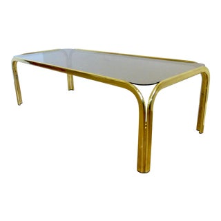 Hollywood Regency Plated Brass & Smoked Glass Rectangular Coffee Table For Sale