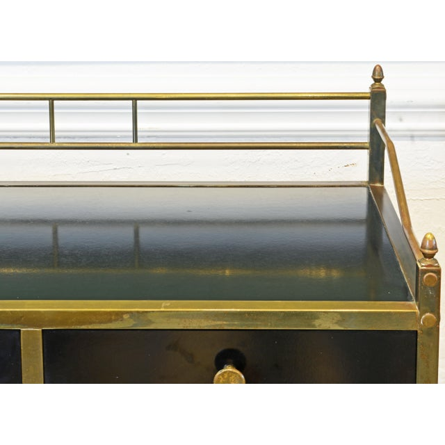Metal Midcentury Two-Tier Brass and Black Laminate Bar Cart by Maxwell Phillips, Ny For Sale - Image 7 of 13