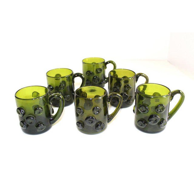 Boho Chic Set / 6 Mid Century Modern Glass Espresso Cups With Prunt Details For Sale - Image 3 of 13