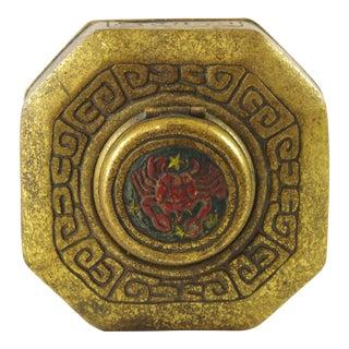 1920s Vintage Tiffany Studios Gilt Finish Zodiac Inkwell For Sale