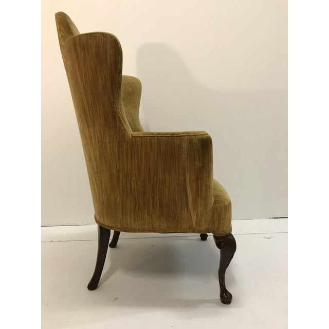 Early 20th Century Queen Anne Tall Barrel Back Wingback Parlor Fire Side Chair Mahogany Cabriole Leg For Sale - Image 4 of 13