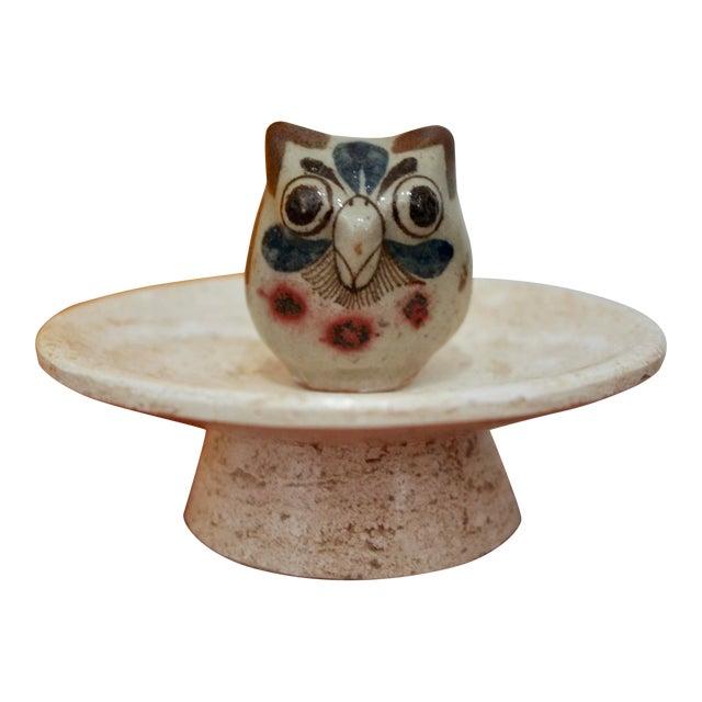 Jorge Wilmot Miniature Pottery Owl on Travertine Pedestal For Sale