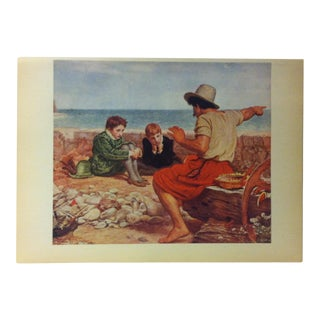 """1939 """"The Boyhood of Raleigh"""" by Millais Mounted Print of a World Famous Painting For Sale"""
