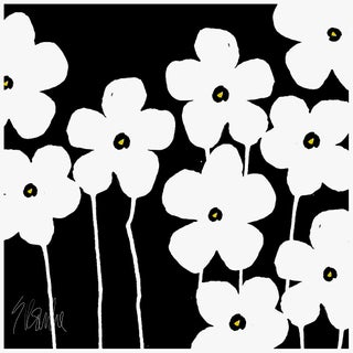 "Fabulous Flowers White and Black Fine Art Print 58"" X 58"" by Liz Roache For Sale"