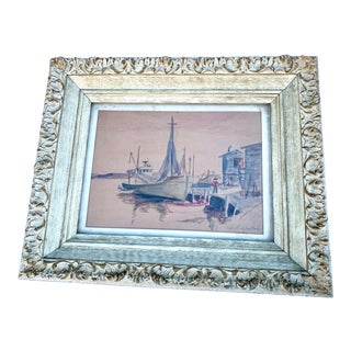 Signed Original Nautical Watercolor Painting in Antique Frame For Sale