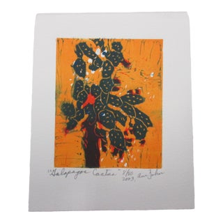 Vintage Lithograph From the Galapagos Collection by Ann Zahn: Cactus For Sale