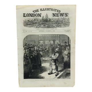 """1870s Antique """"Inside Paris: A Sale by Auction in the Fish Market"""" The Illustrated London News Print For Sale"""