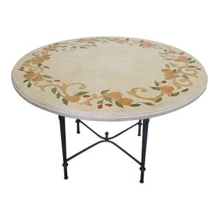 Italian Inlaid Stone Resin Top w/ Iron Base Kitchen Table
