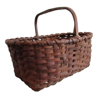 Antique 1800s New England Black Ash Woven Gathering Basket For Sale