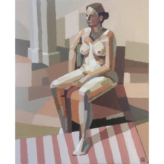 Pink Contemporary Oil Painting by Andy Dobbie, Seated Nude V For Sale - Image 8 of 8