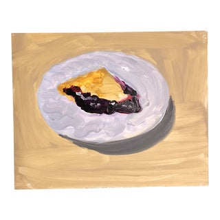 Original Blueberry Pie Still Life Painting For Sale