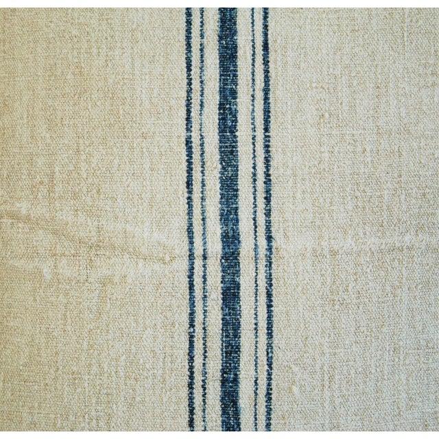Blue Stripe French Grain Sack Pillow - Image 3 of 8