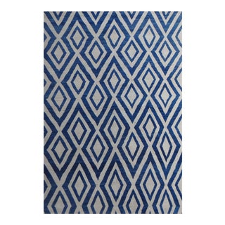"Hand Knotted Navajo Blue Rug - 13'5"" X 10'2"" For Sale"
