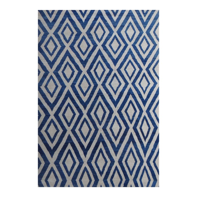 """Hand Knotted Navajo Blue Rug - 13'5"""" X 10'2"""" For Sale"""