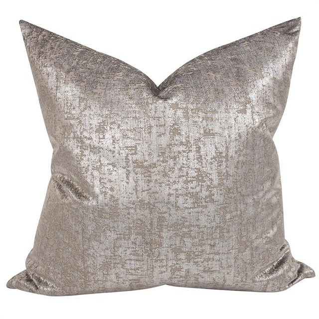 """Kenneth Ludwig Chicago Mousse Pewter 24"""" Square Pillow For Sale In Chicago - Image 6 of 6"""