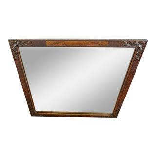 Antique Carved Wood Framed Mirror For Sale