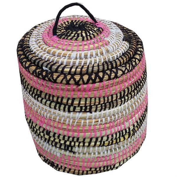 Moroccan Straw Woven Basket - Image 1 of 2