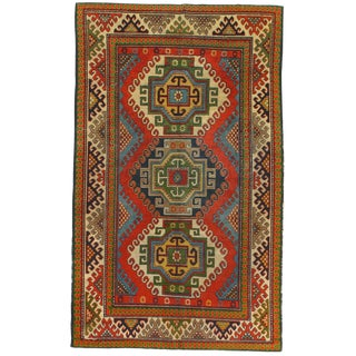Late 19th Century Antique Turkish Kazak Lambswool Rug - 4′ × 6′8″ For Sale