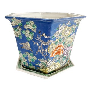 Chinoiserie Blue Cherry Blossom and Birds Planter With Saucer For Sale