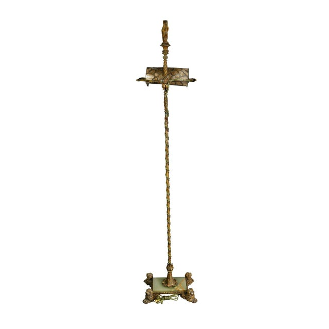 Renaissance Revival Wrought Iron and Bronze Floor Lamp For Sale - Image 9 of 11