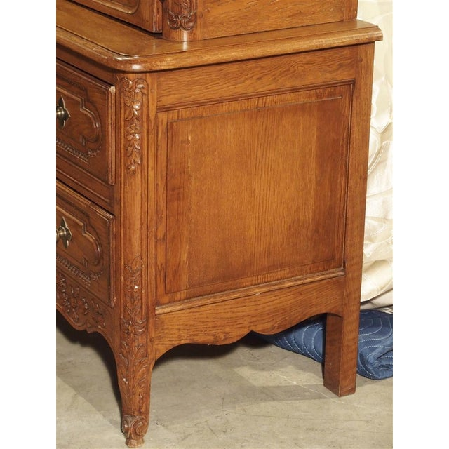 French Carved Oak Wedding Cabinet and Chest of Drawers From Normandy, Early 1900s For Sale - Image 3 of 13
