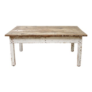 Primitive Style Farmhouse Coffee Table With Natural Wood Top For Sale