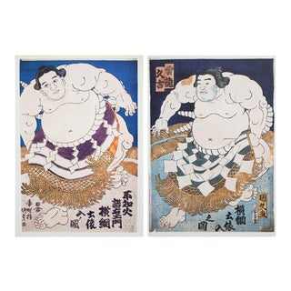 1980s Vintage Sumo Wrestlers Prints by Utagawa Kunisada - A Pair For Sale