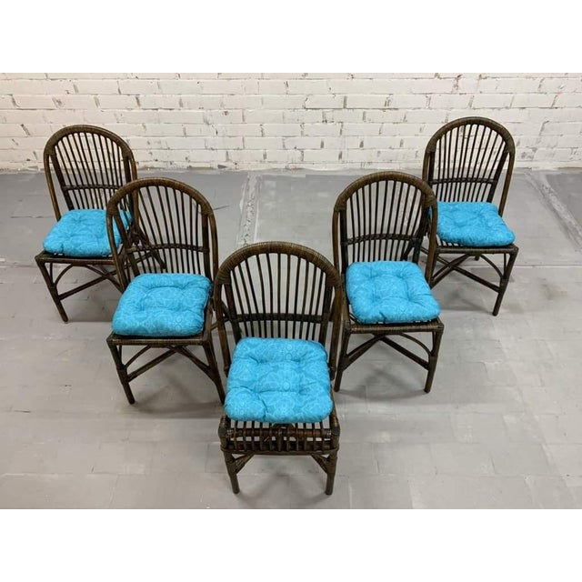 Italian Set of 5 Italian Vintage Bamboo Patio Dining Chairs For Sale - Image 3 of 11