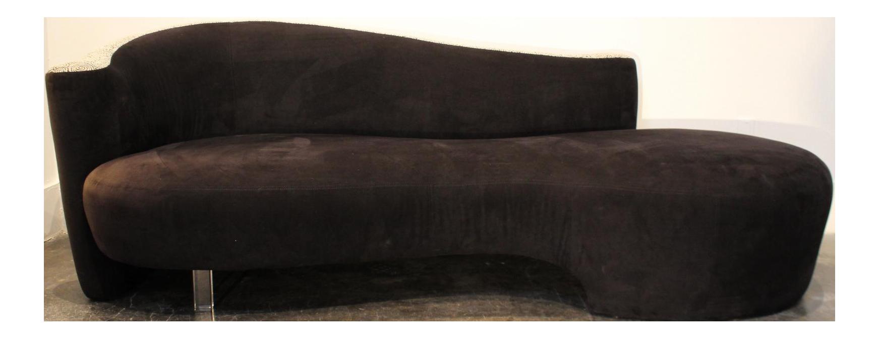 Vladimir Kagan Style Serpentine Cloud Sofa, Two Tone, Lucite Leg  Right Arm