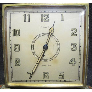 Tiffany & Co. Art Deco Brass Desk Clock With Hand Painted Roses Preview