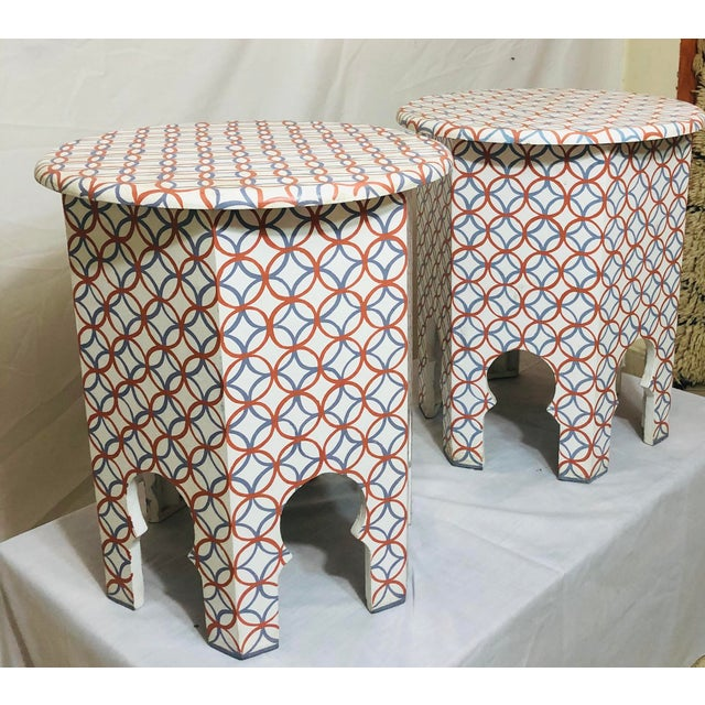 Islamic Moroccan Style Lamp Tables - a Pair For Sale - Image 3 of 10