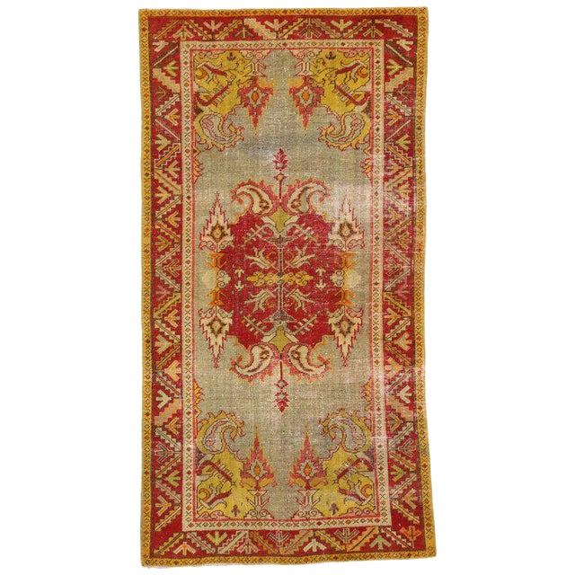 20th Century Turkish Style Distressed Oushak Rug For Sale