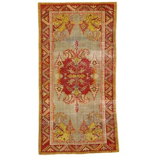 20th Century Turkish Style Distressed Oushak Rug - 4′10″ × 6′1″ For Sale