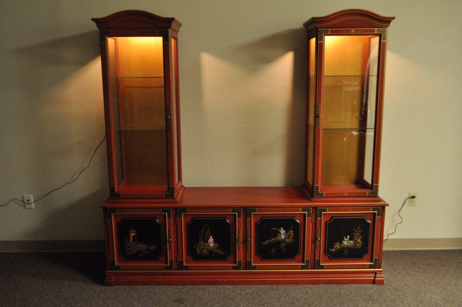 Vintage Jasper Oriental Chinoiserie Red Display China Cabinet Curio  Credenza   Image 2 Of 12