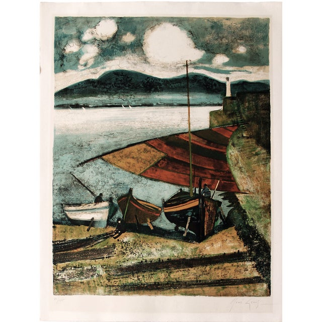 """La Voile Latine"" Lithograph by René Genis For Sale"