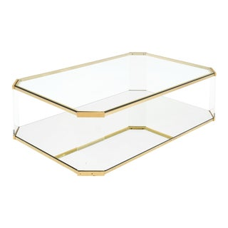 Brass and Lucite Modernist Coffee Table For Sale