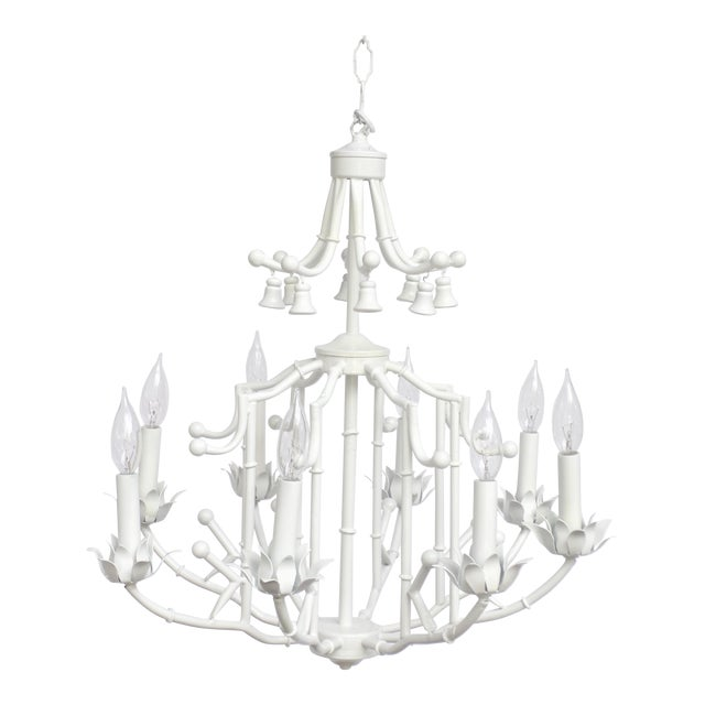 Large Palm Beach Regency Pagoda Faux Bamboo White Chandelier - 8 Arms For Sale