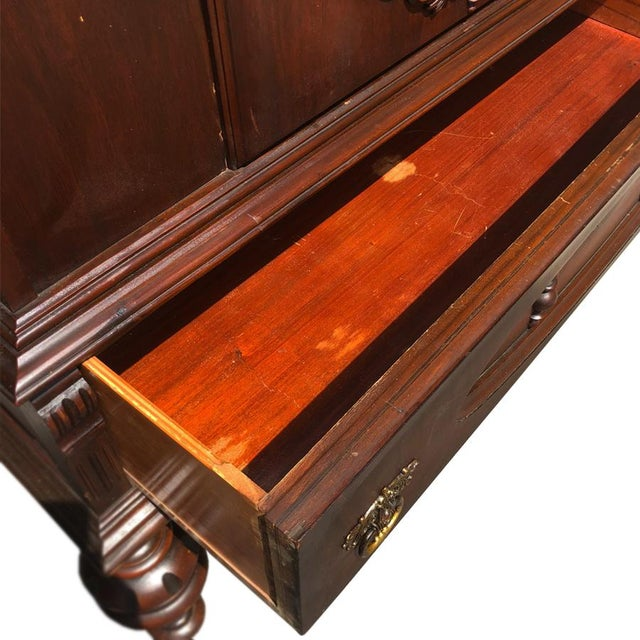 Gothic Exceptional Antique Victorian Carved Mahogany China Curio Bookcase Cabinet For Sale - Image 3 of 11