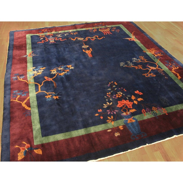 Antique Chinese Art-Deco Rug For Sale - Image 4 of 6