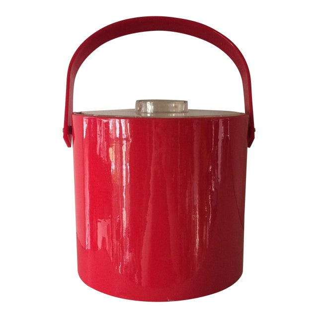 Vintage Red Ice Bucket & Tongs For Sale