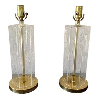 Mid 20th Century Lucite & Gold Table Lamps - a Pair For Sale