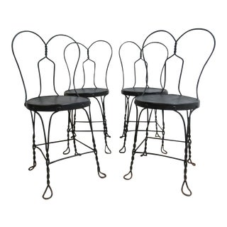 Antique Wire Metal Ice Cream Parlor Salon Game Table Side Chairs - Set of 4 For Sale
