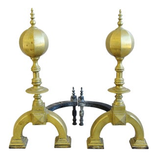 Estate Antique English Brass Chippendale-Style Andirons For Sale
