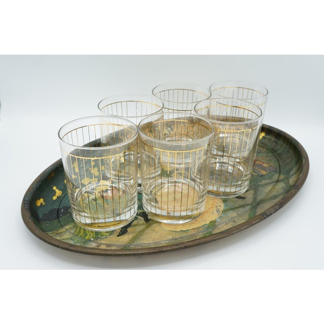 Gold Golden Pinstriped Low Ball Cocktail Glasses (6) & Champagne Bucket With Bar Tools For Sale - Image 8 of 13