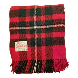 Vintage James Pringle of Scotland Plaid Wool Fringed Blanket For Sale