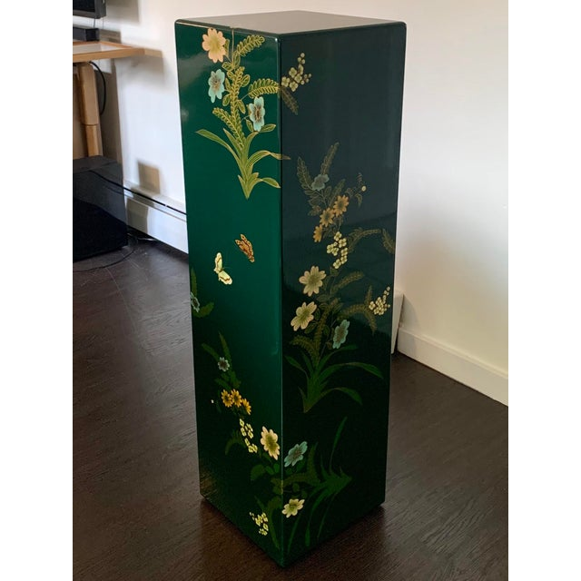 Dark Green Vintage Hand Painted Lacquered Tall Display Pedestal Stand For Sale - Image 8 of 8