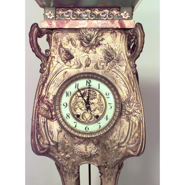 Late 19th Century Late 19th Century French Art Nouveau Bronze Dore Grandfather Clock For Sale - Image 5 of 6