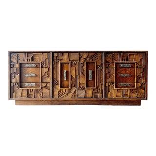 Mid Century Brutalist Credenza by Lane Pueblo Collection For Sale